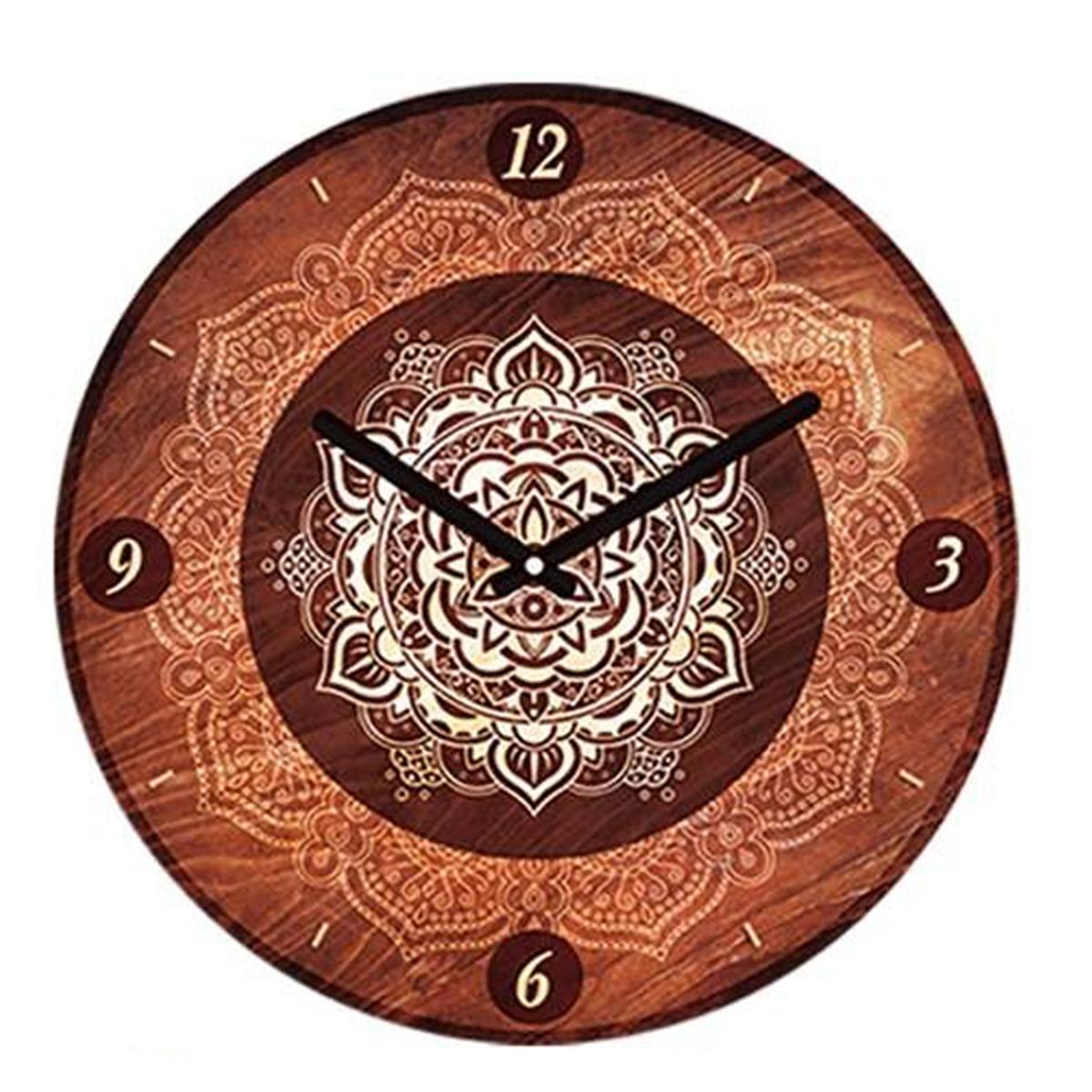 Horloge Murale \'Boho\' marron (mandala) - 28 cm - [P5388]