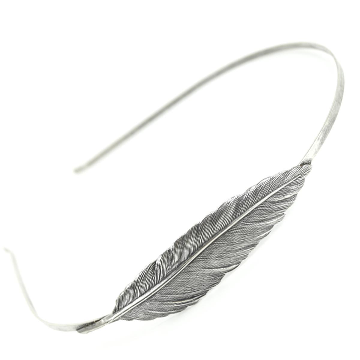 Serre-tête artisanal \'Médicis\' argenté (plume) - 70x18 mm - [R0719]