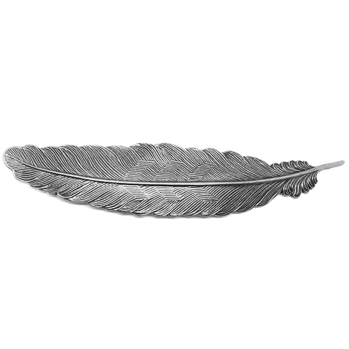 Barrette artisanale \'Médicis\' argenté (plume) - 11x22 cm - [R0721]