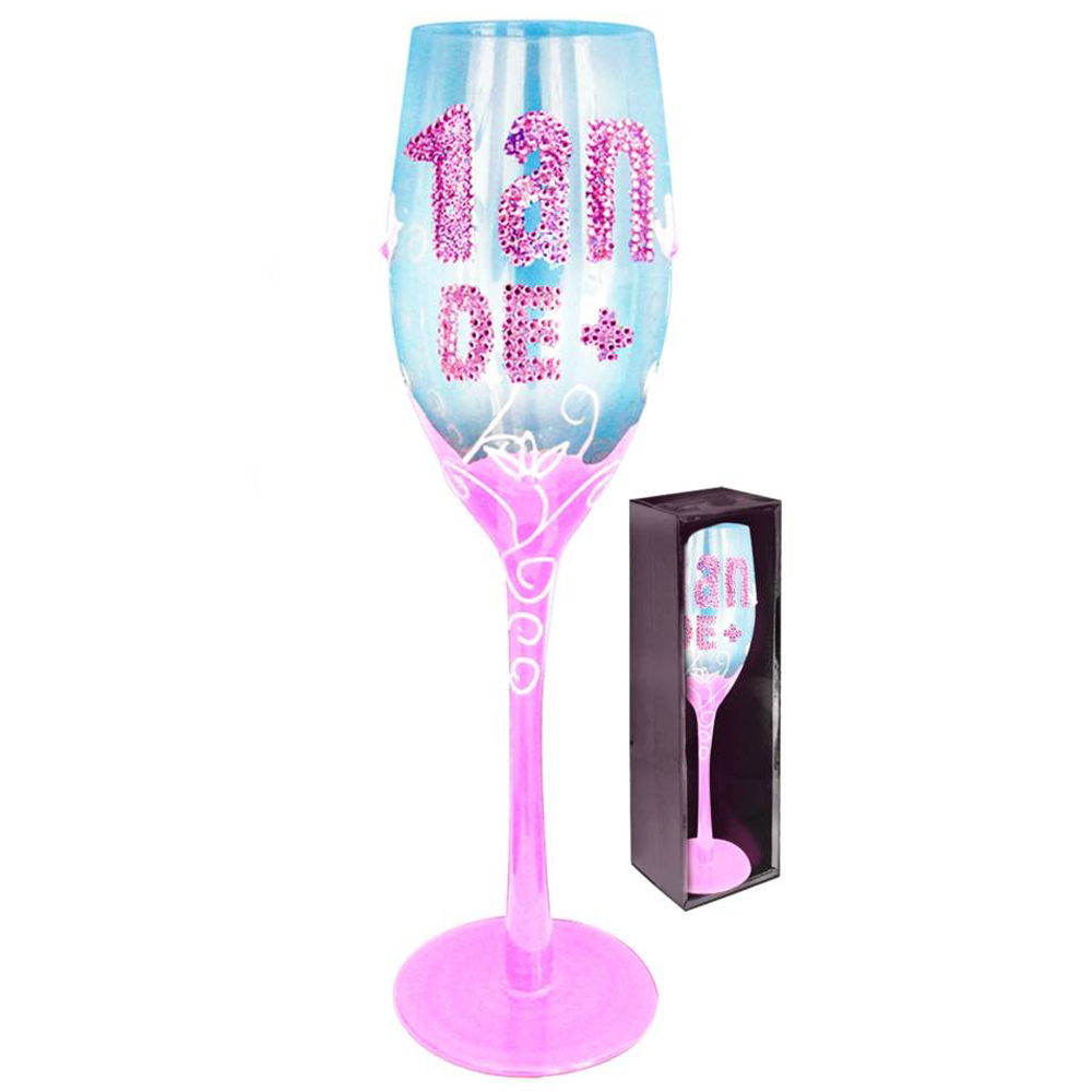 Coupe flute à champagne \'1 an de +\' rose - 24 cm - [Q2007]