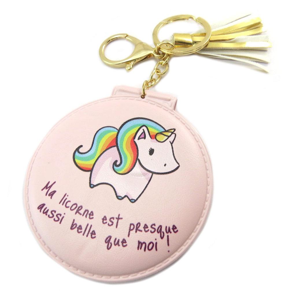 Miroir de poche \'Licorne My Unicorn\' rose (Ma licorne est presque aussi belle que moi !) - 8 cm - [P5394]