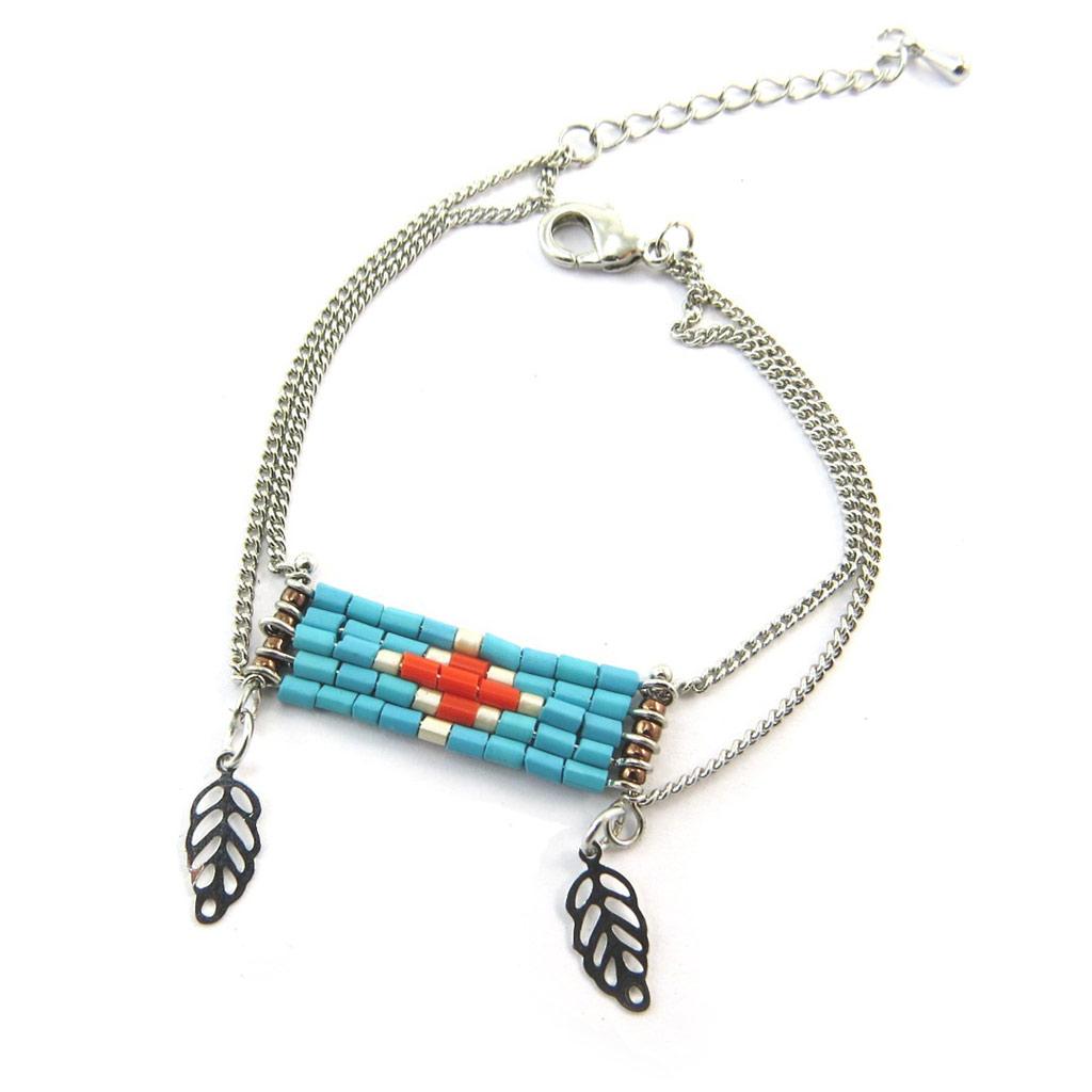 Bracelet \'Navajos\' turquoise argenté - [N3478]