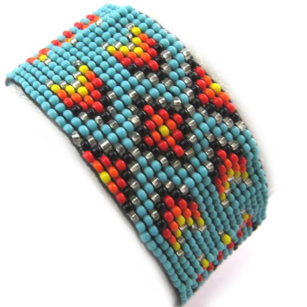 Bracelet ethnique \'Katmandou\' turquoise - [N3481]