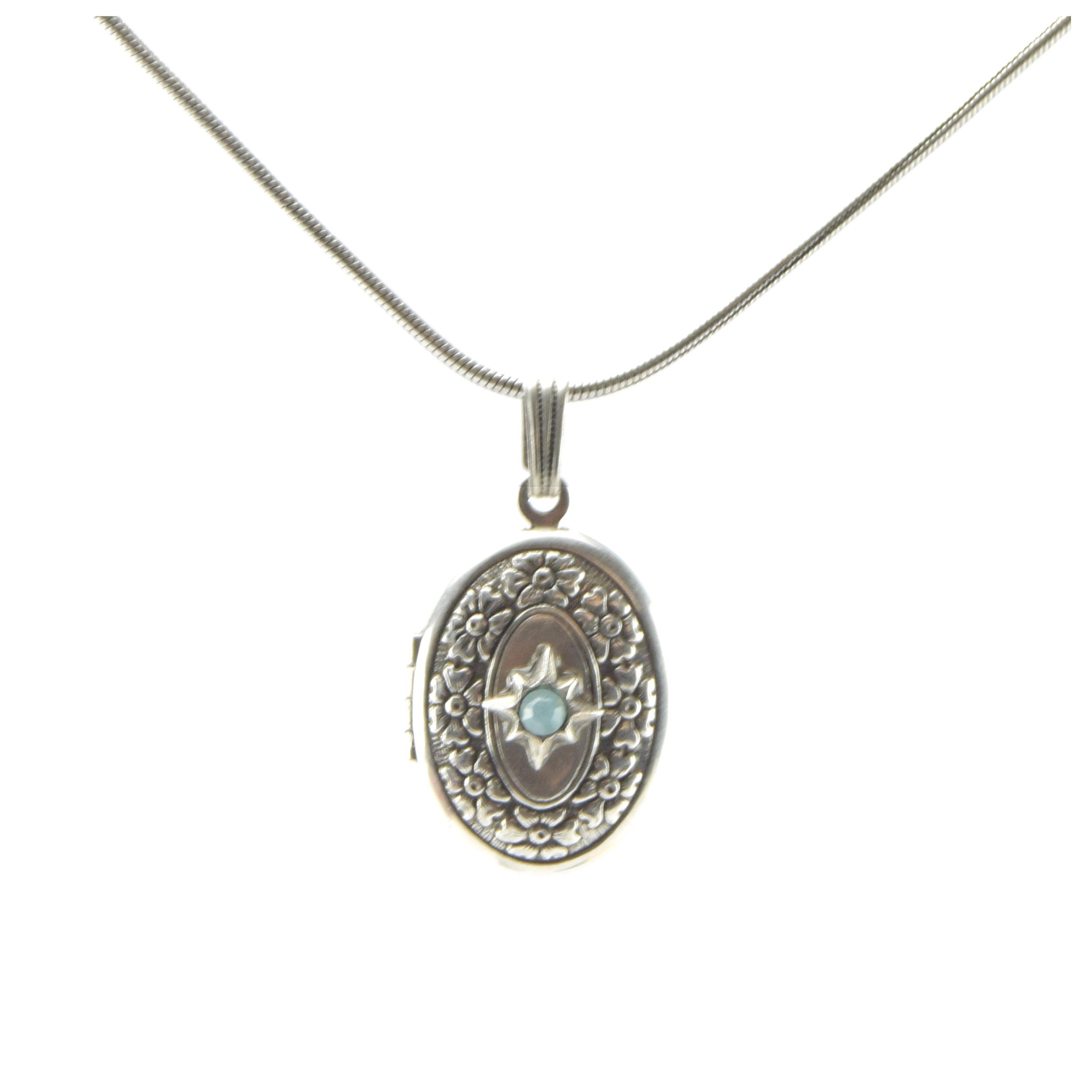 Collier artisanal \'Médicis\' turquoise argenté (cassolette) - 22x16 cm - [R0725]