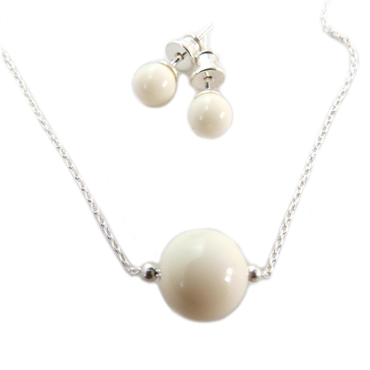 Parure argent artisanale \'Perla\' beige argenté (collier et boucles) - 10 mm, boucles 6 mm - [Q4984]