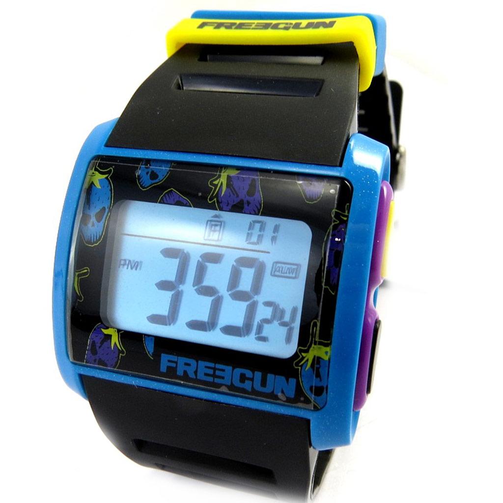 Montre silicone \'Freegun\' noir bleu jaune violet (digital) - [M2962]