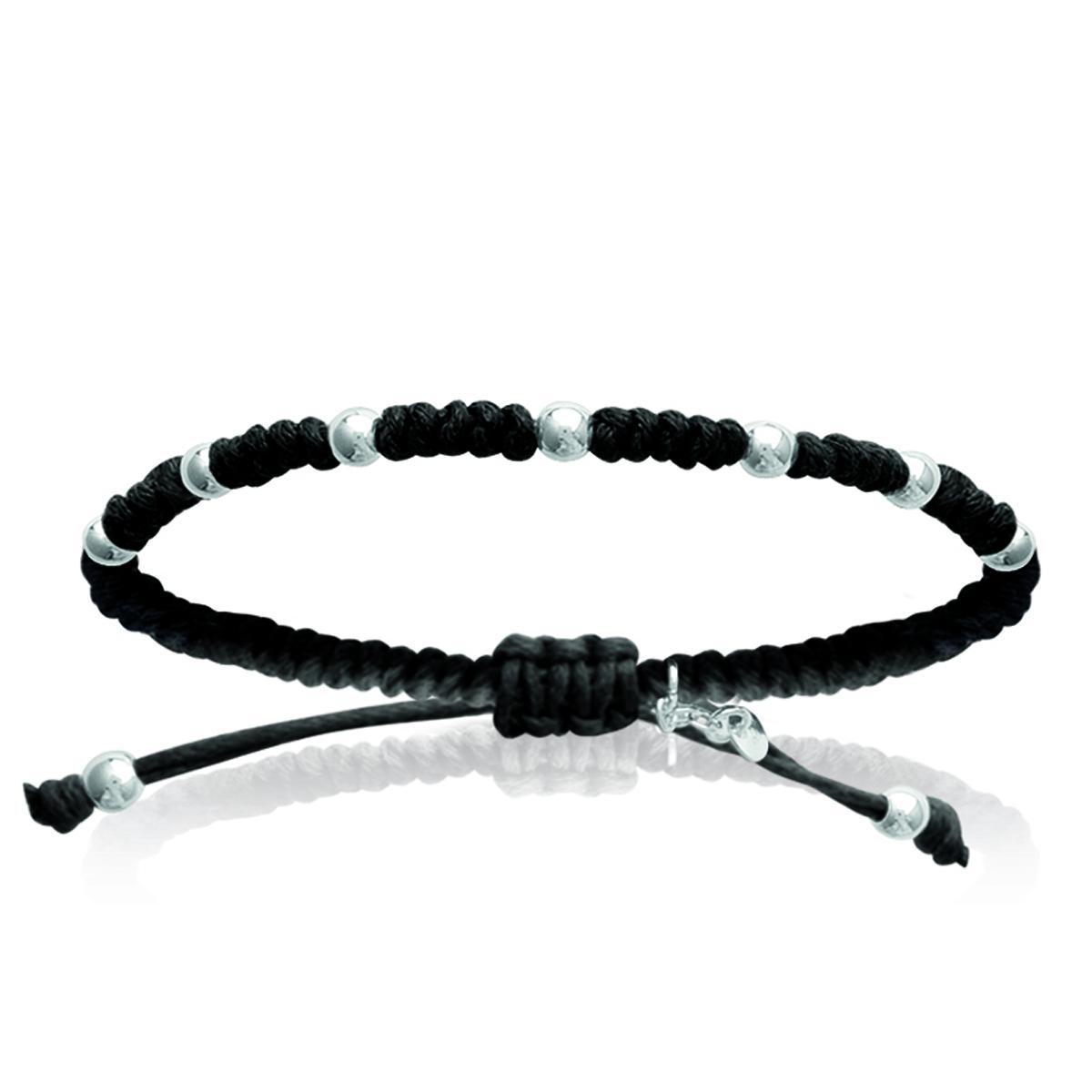 Bracelet Argent shambhala \'Billes\' noir argenté - 4 mm - [I8054]