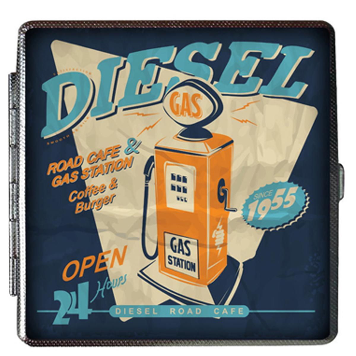 Etui à cigarettes \'Classic Cars\' bleu (vintage) - 100x94x20 mm - [Q4985]