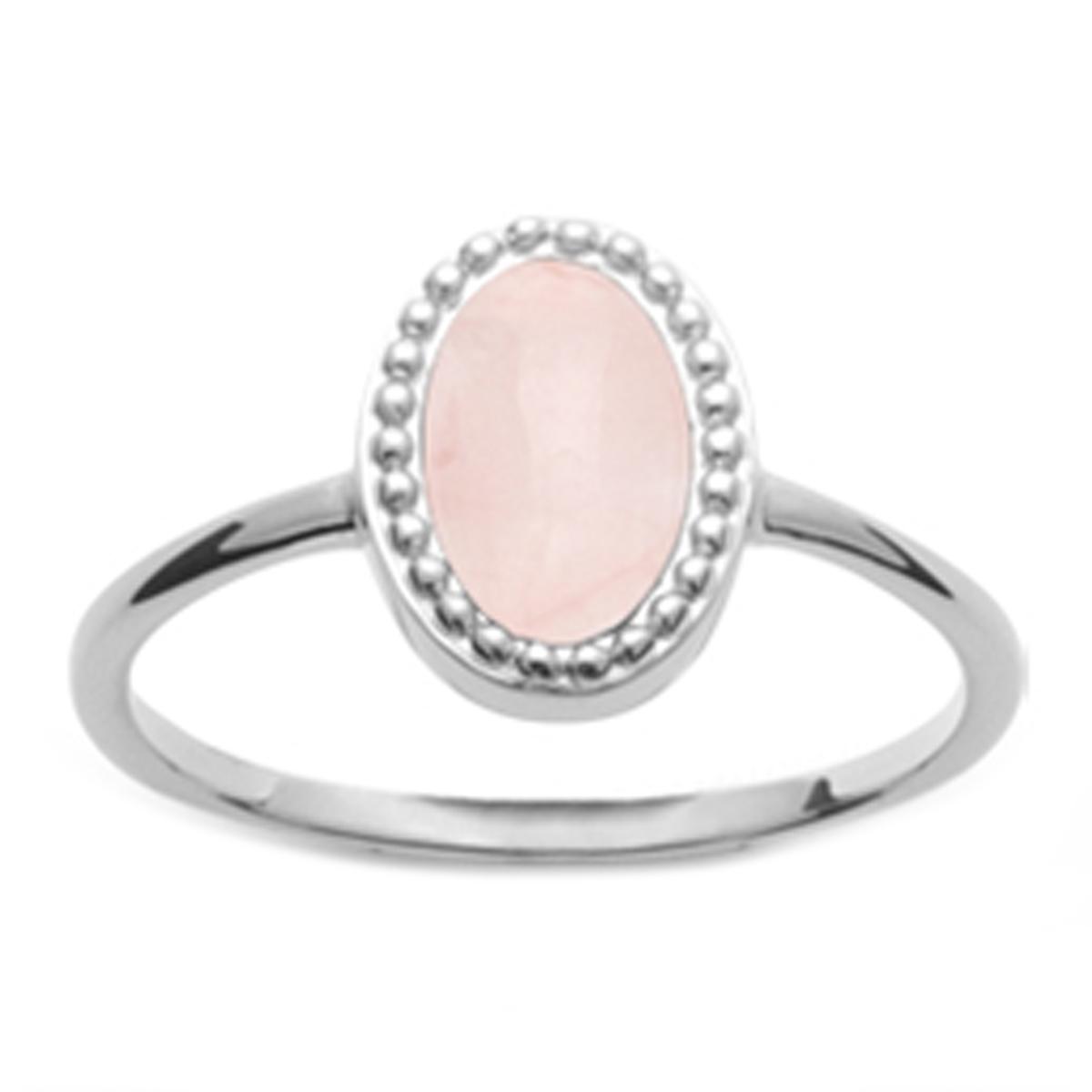 Bague Argent \'Cléopatra\' quartz rose argenté (rhodié) - 10x7 mm - [Q6265]