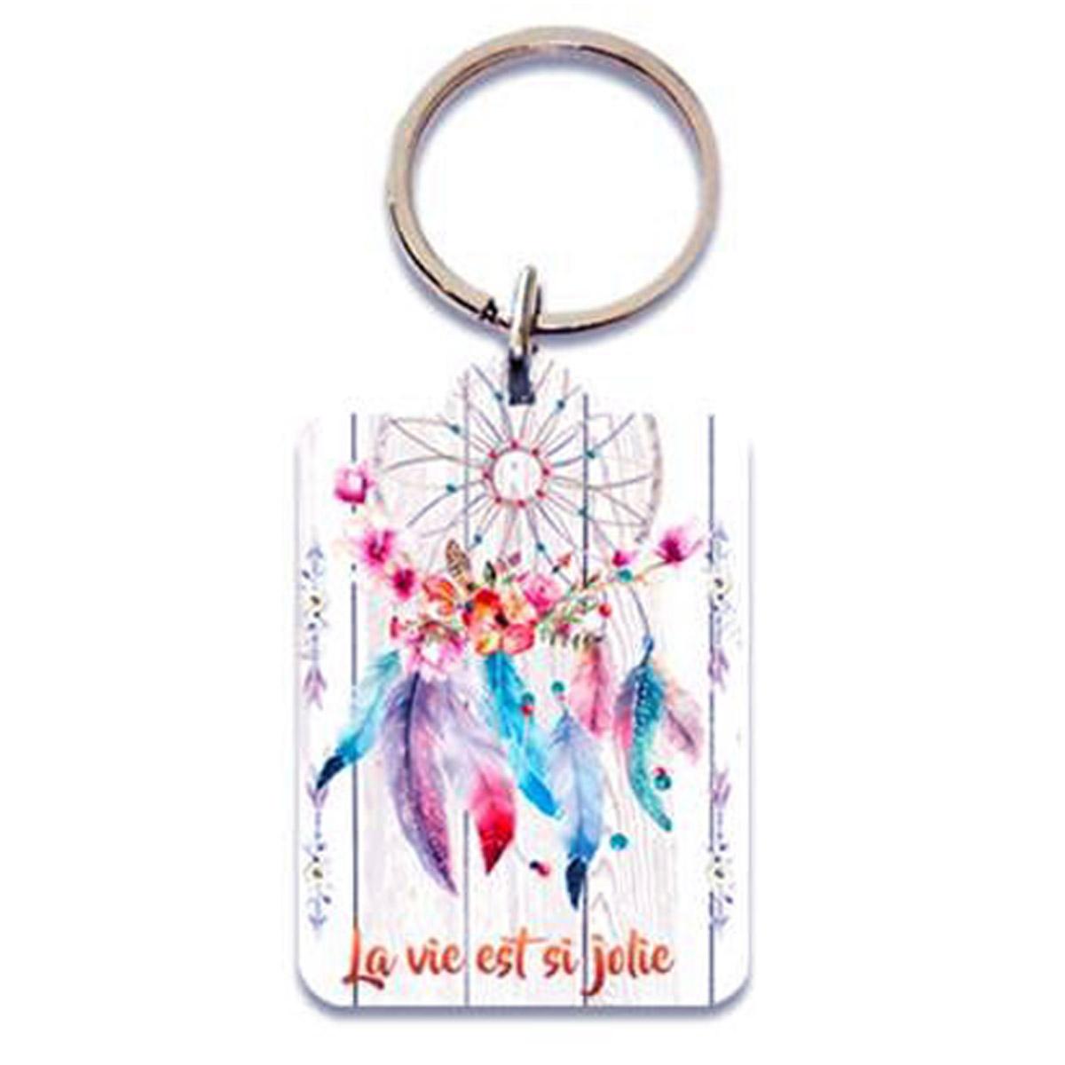 Porte-Clés \'Boho\' blanc (dreamcatcher - la vie est si jolie) - 65x45 cm - [P5406]