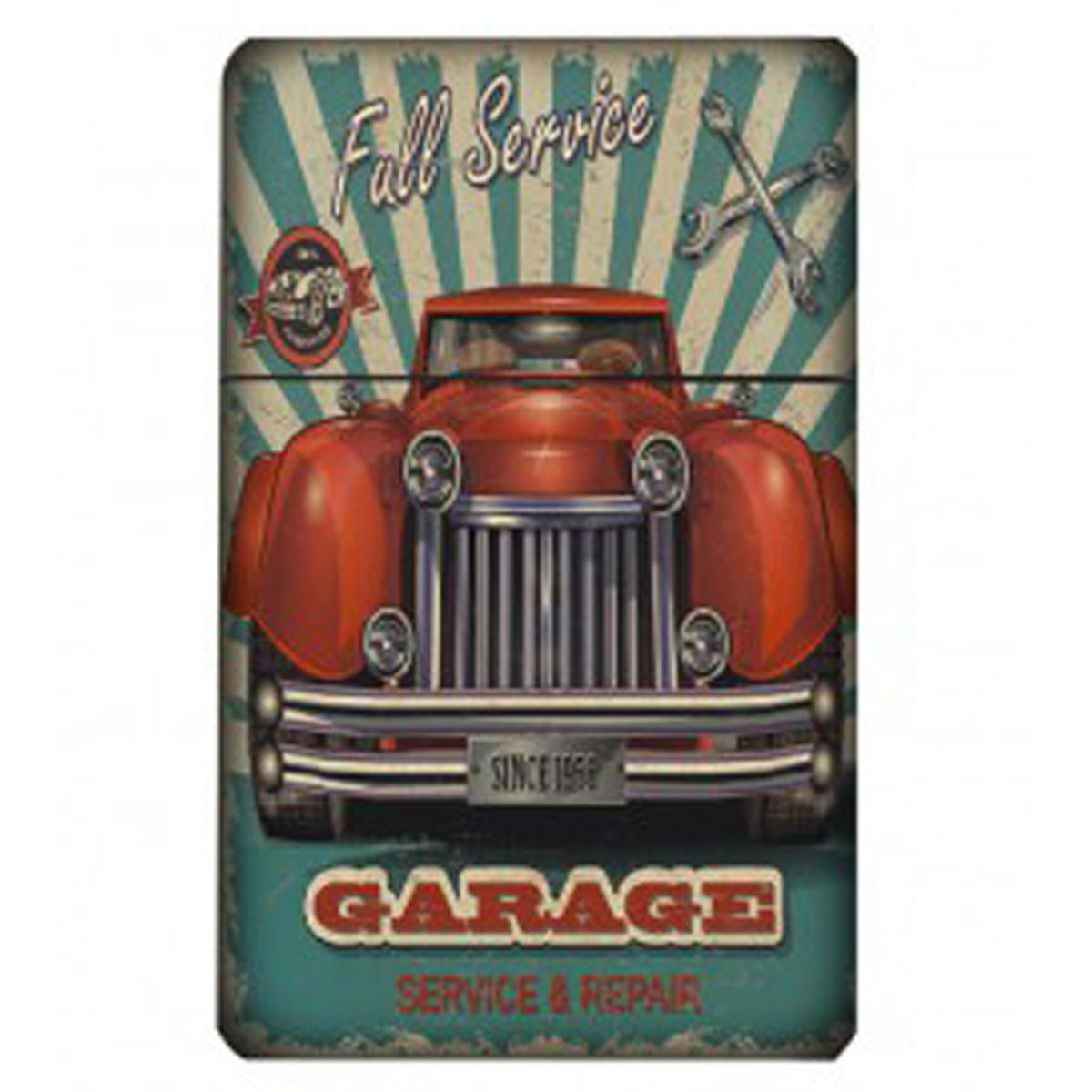 Etui à paquet de cigarettes \'Classic Cars\' turquoise beige (vintage) - 95x60x28 mm - [Q4991]
