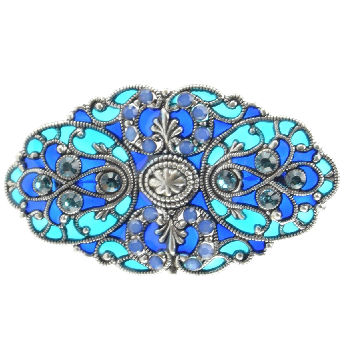 Broche artisanale \'Médicis\' bleu turquoise - 50x40 mm - [R0732]