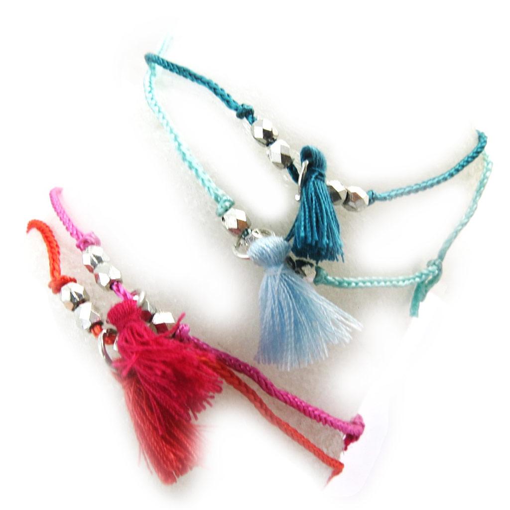 4 bracelets fantaisie \'Altaï\' bleu rose rouge - [N3490]