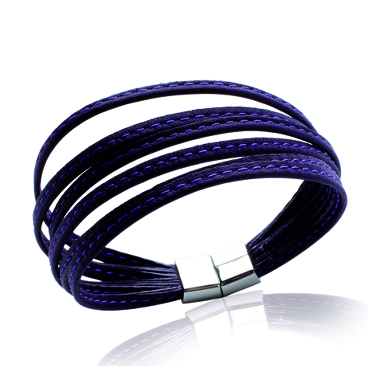 Bracelet acier mixte \'Peaceful\' violet / acier  - 6 rangs 3 mm - [I8063]