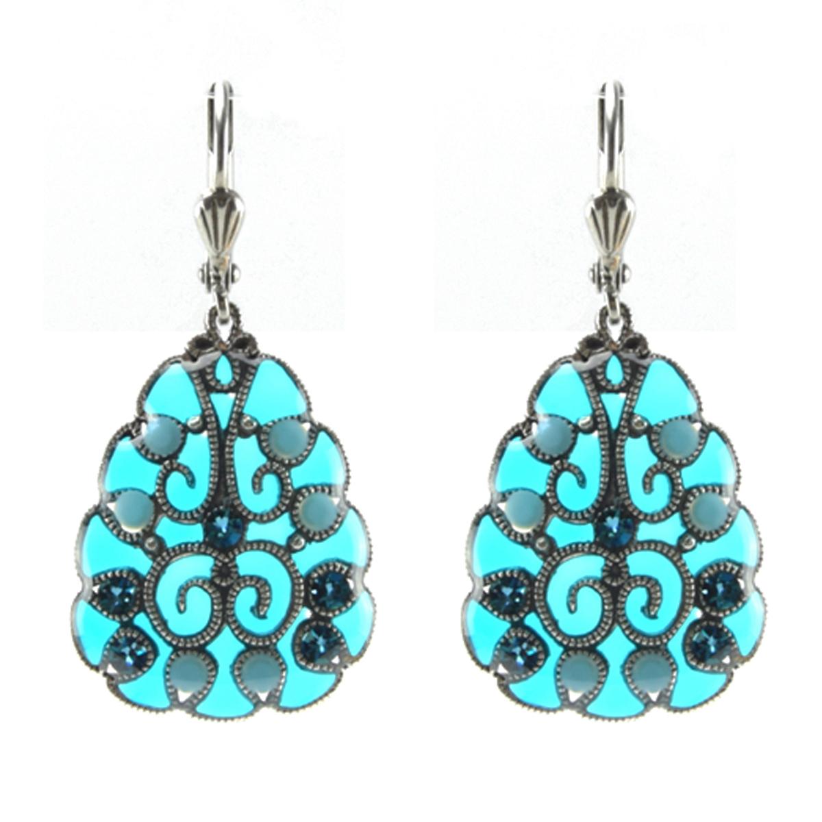 Boucles d\'oreilles artisanales \'Médicis\' turquoise argenté - 25x20 mm - [R0739]