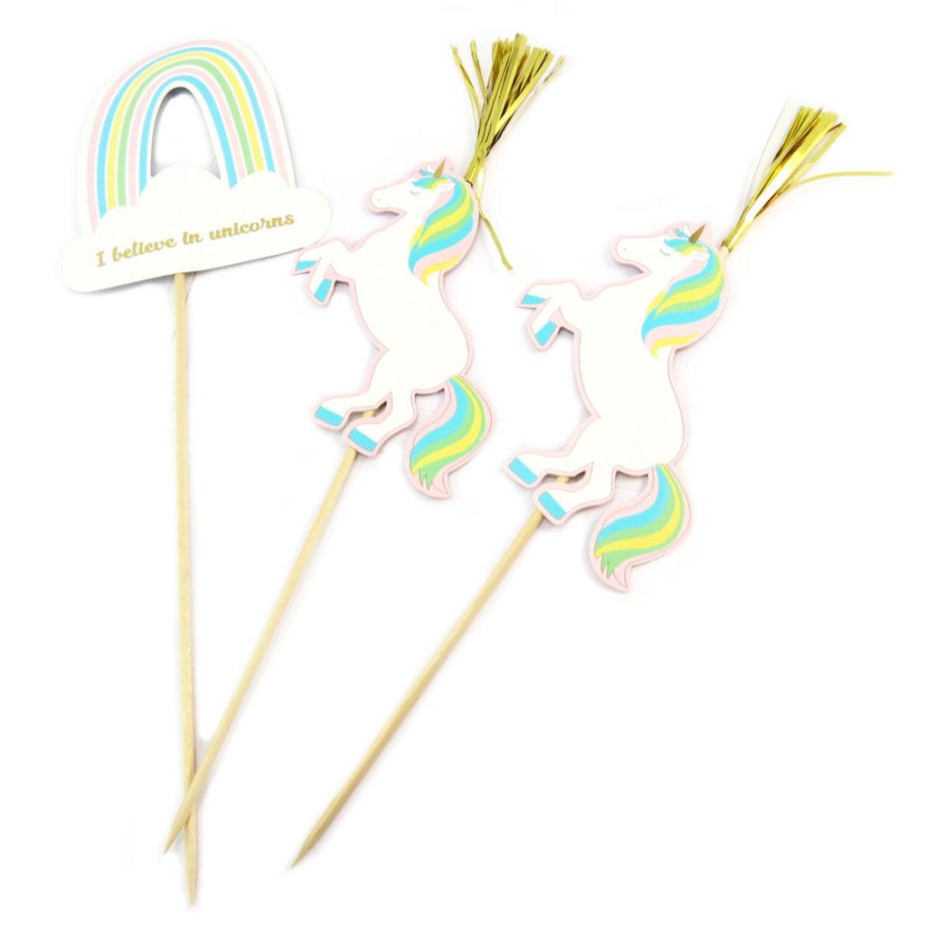 3 grands piques décoratifs \'Licorne My Unicorn\' blanc multicolore - 28 cm - [P5430]