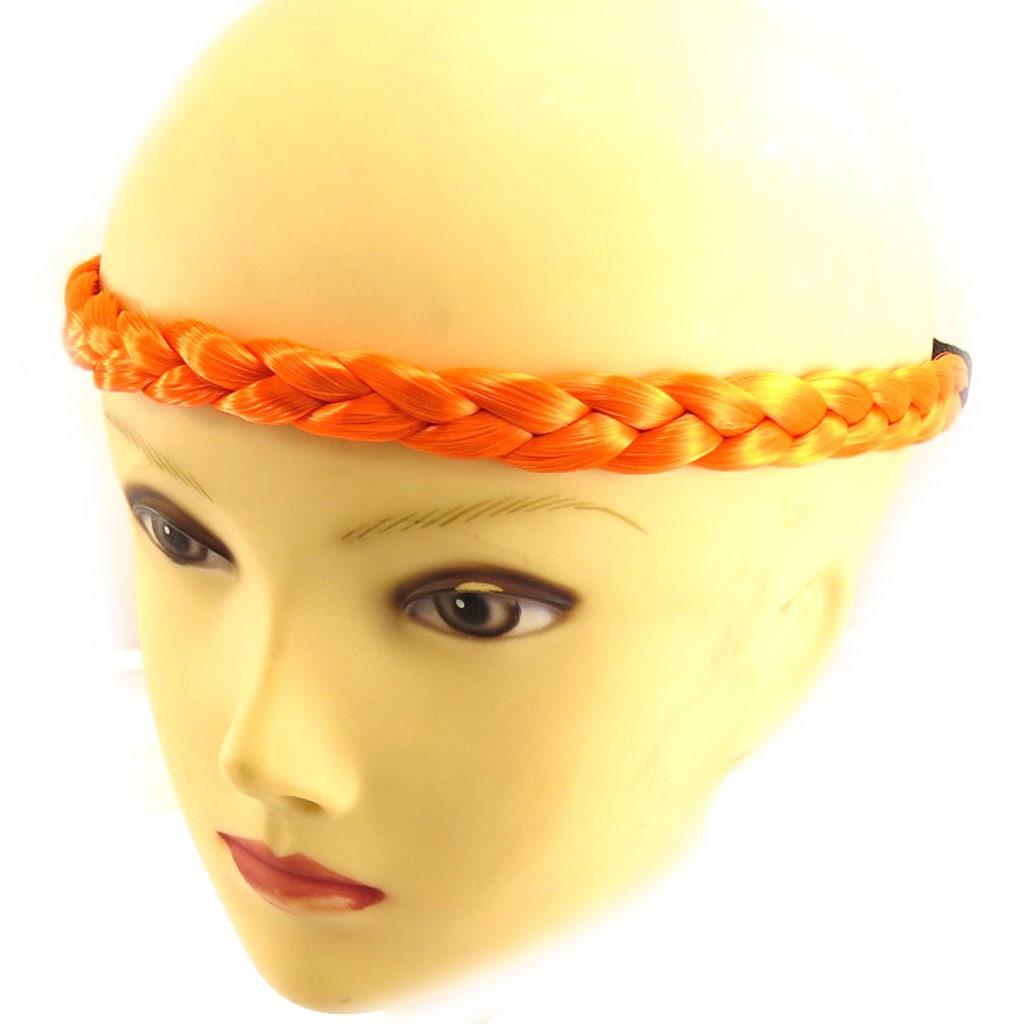 Bandeau faux cheveux \'Tresses\' orange - [Q5002]