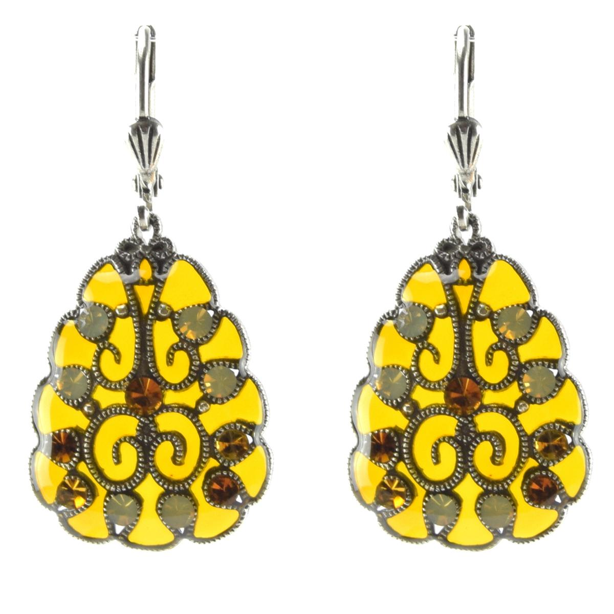 Boucles d\'oreilles artisanales \'Médicis\' jaune argenté - 25x20 mm - [R0741]