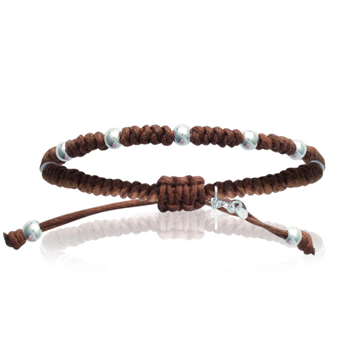 Bracelet Argent shambhala \'Billes\' marron camel - 4 mm - [I8065]