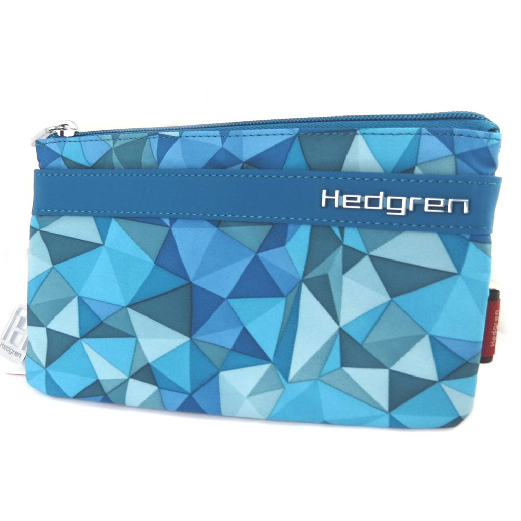 Grand porte-monnaie \'Hedgren\' turquoise triangles (3 compartiments) - 195x11x2 cm - [P0040]