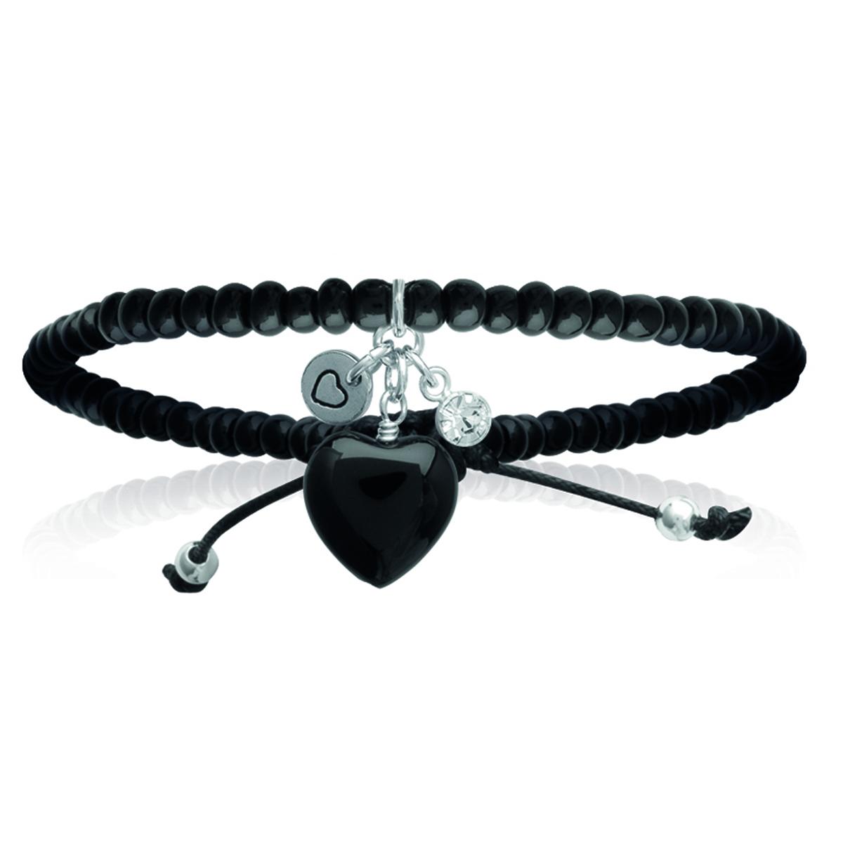 Bracelet Argent \'Love\' noir argenté - 25x10 mm - [I8069]