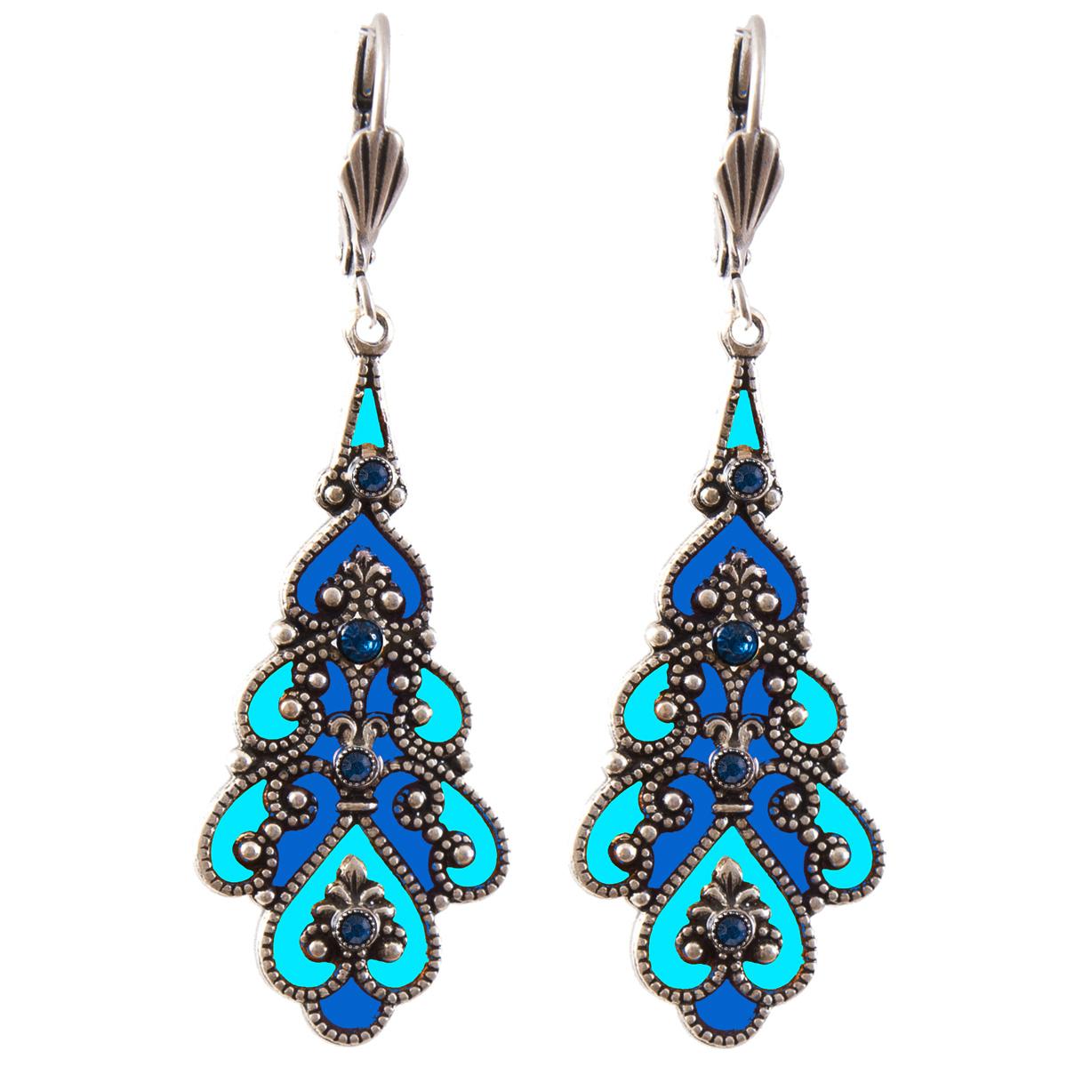 Boucles d\'oreilles artisanales \'Médicis\' bleu turquoise argenté - 38x17 mm - [R0743]