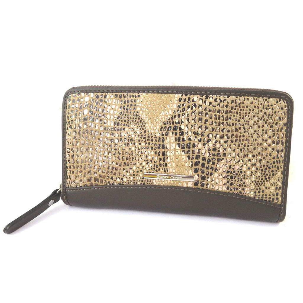 Compagnon zippé / pochette cuir \'Gianni Conti\' camel (motif python) - 19x105x25 cm - [N8016]