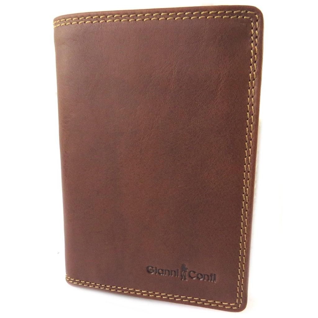 Portefeuille cuir \'Gianni Conti\' cognac - 14x10x2 cm - [N8020]