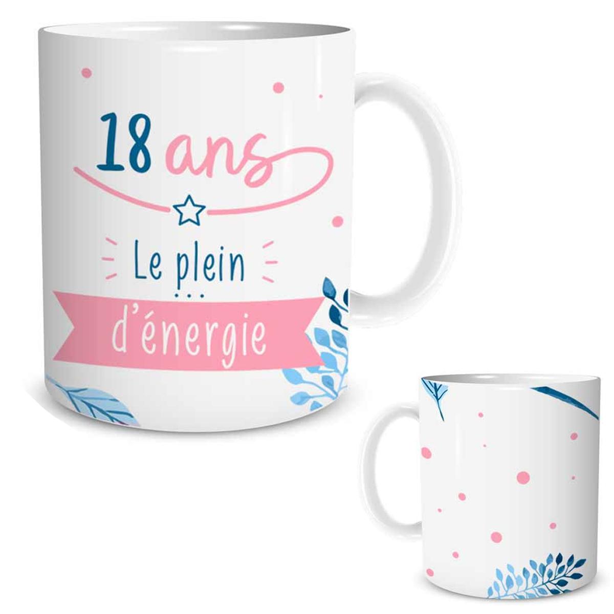 Mug céramique \'18 ans\' blanc rose (le plein d\'énergie) - [P5455]