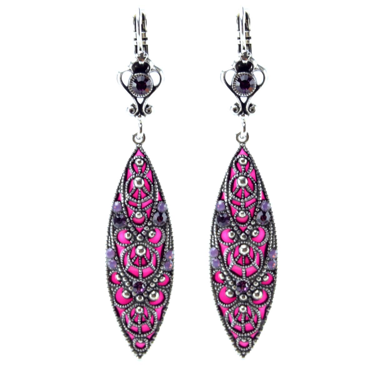 Boucles d\'oreilles artisanales \'Médicis\' rose violet argenté - 60x13 mm - [R0749]