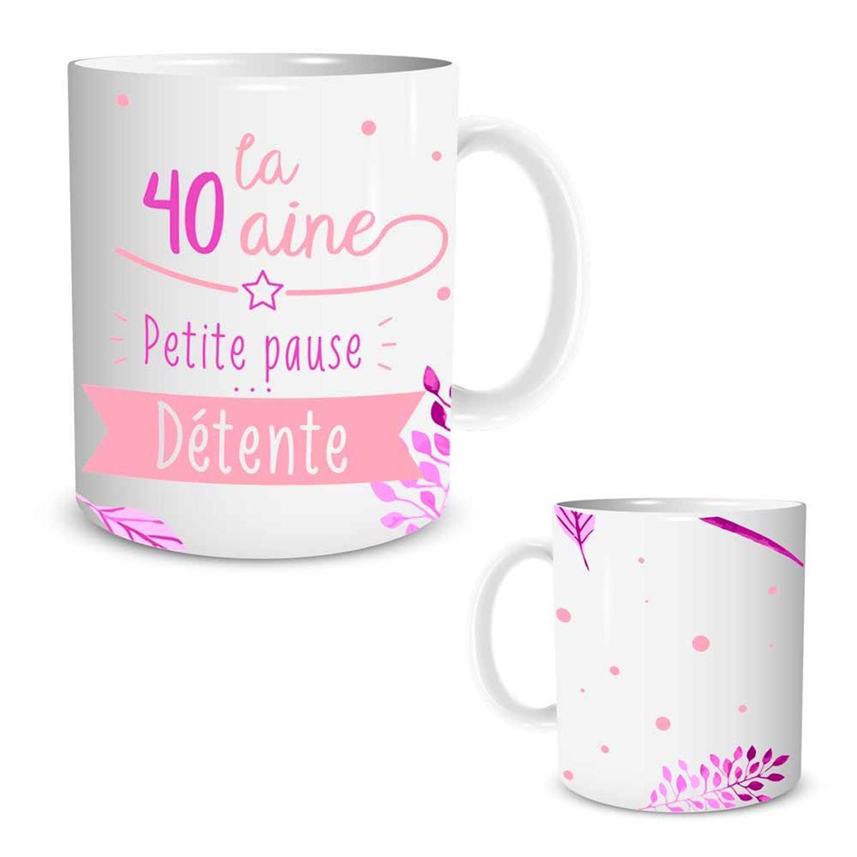 Mug céramique \'40 ans\' blanc rose (petite pause détente) - [P5457]