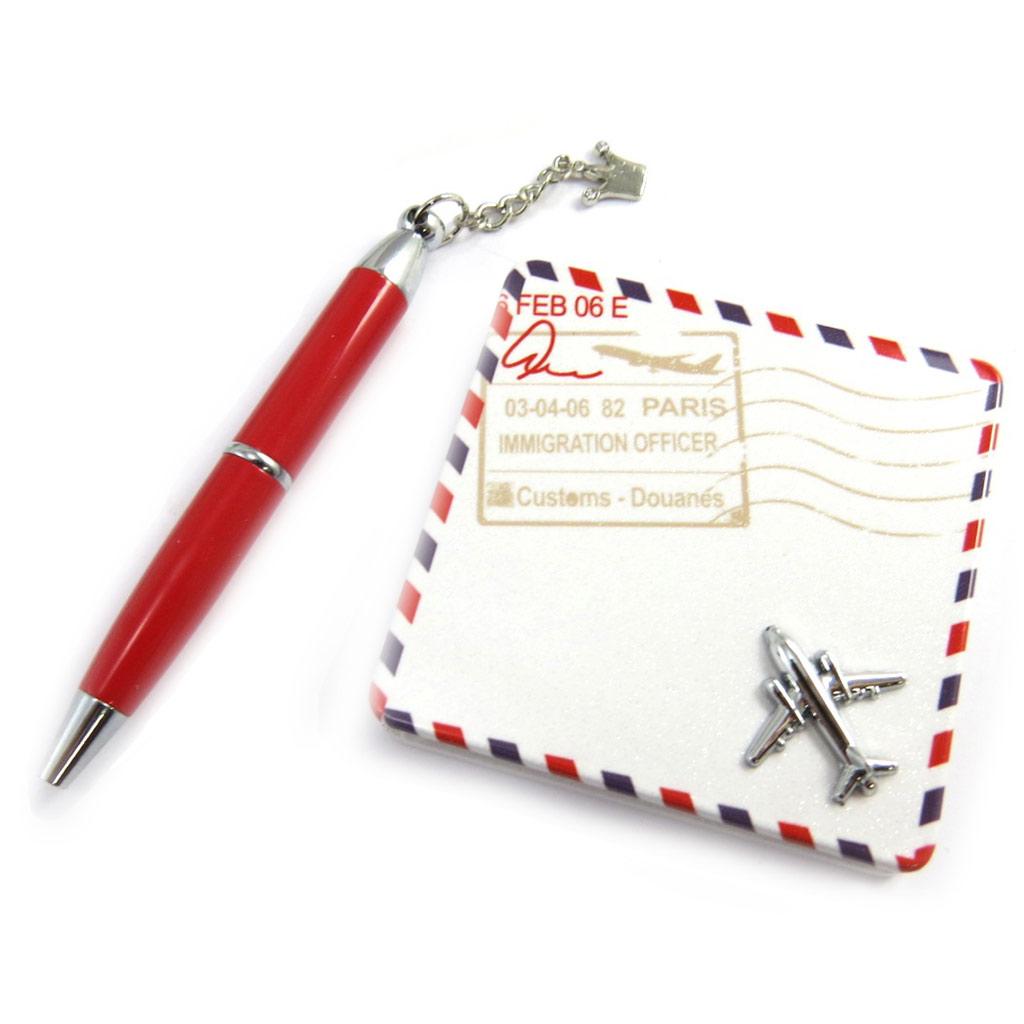 Coffret \'Sissi\' rouge (stylo + miroir) - [M3164]