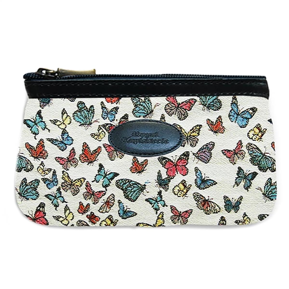 Pochette trousse artisanale \'Royal Tapisserie\' bleu blanc multicolore (papillons)  - 18x12x3 cm - [Q6305]