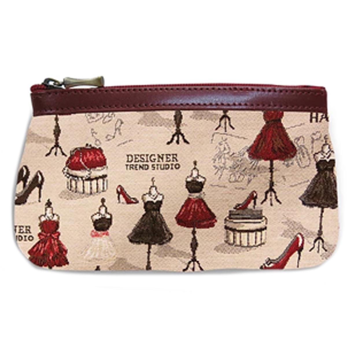 Pochette trousse artisanale \'Royal Tapisserie\' beige rouge (maison de Couture) - 18x12x3 cm - [Q6307]