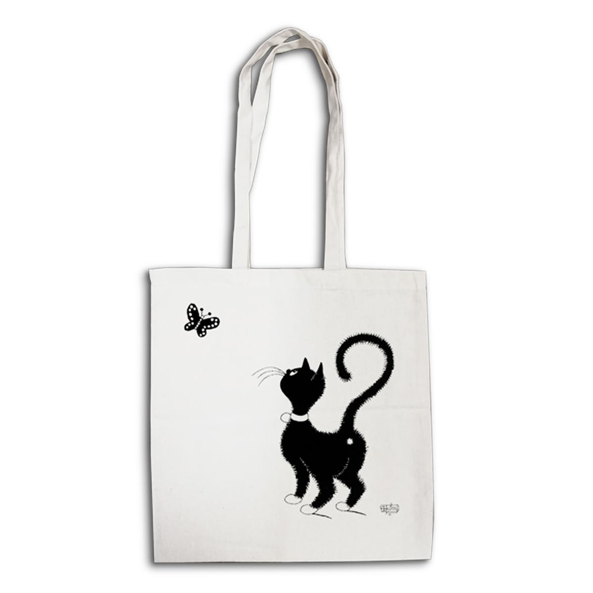 Tote bag \'Chats Dubout\' écru noir (chat papillon) - 41x39 cm - [Q6330]