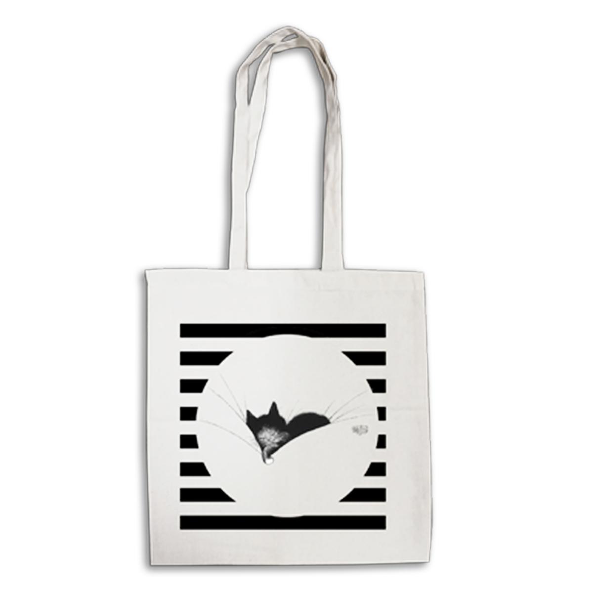 Tote bag \'Chats Dubout\' écru noir (gros dodo) - 41x39 cm - [Q6331]