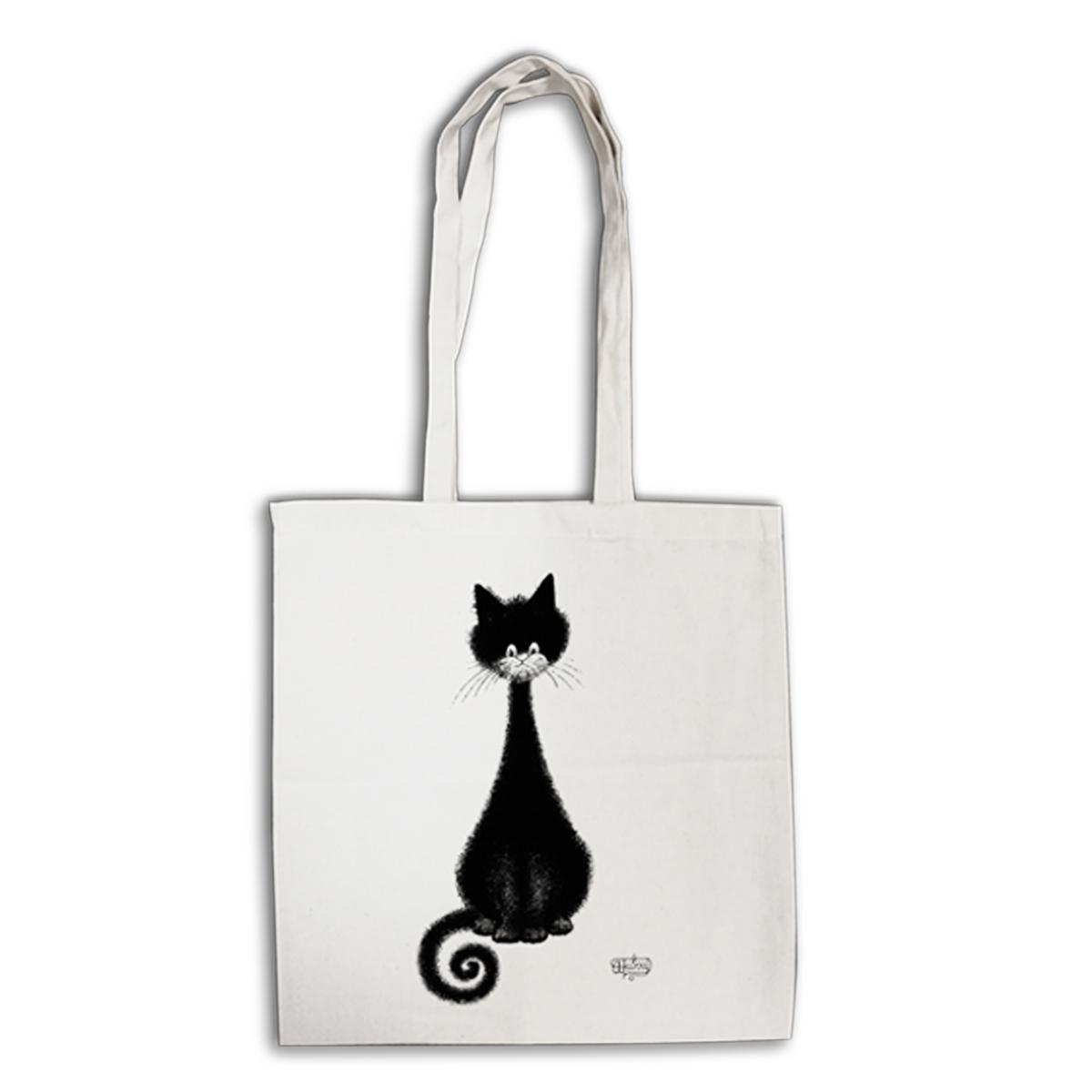 Tote bag \'Chats Dubout\' écru noir (chat spirale) - 41x39 cm - [Q6332]