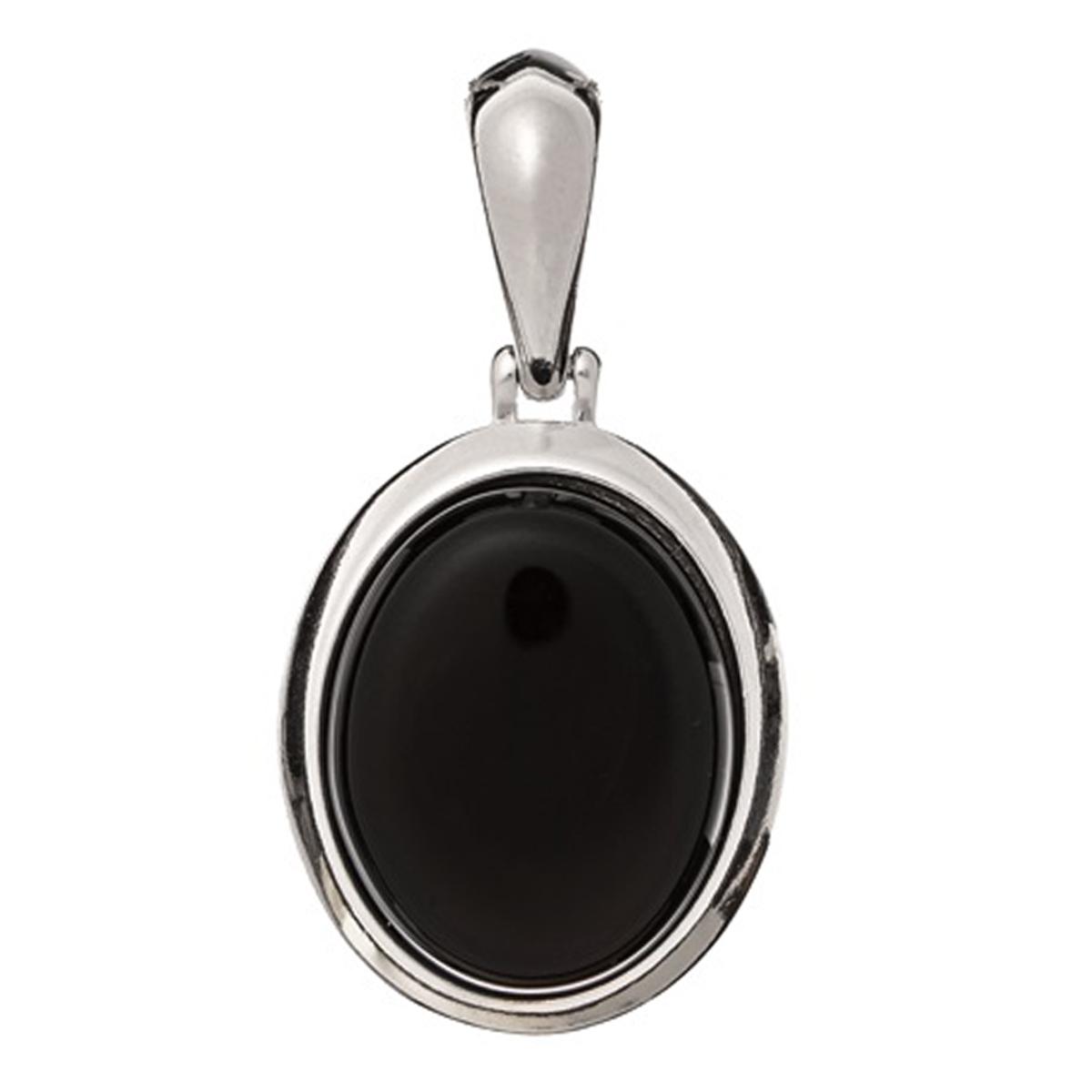 Pendentif Argent \'Meghan\' onyx argenté (rhodié) - 18x14 mm - [R0786]