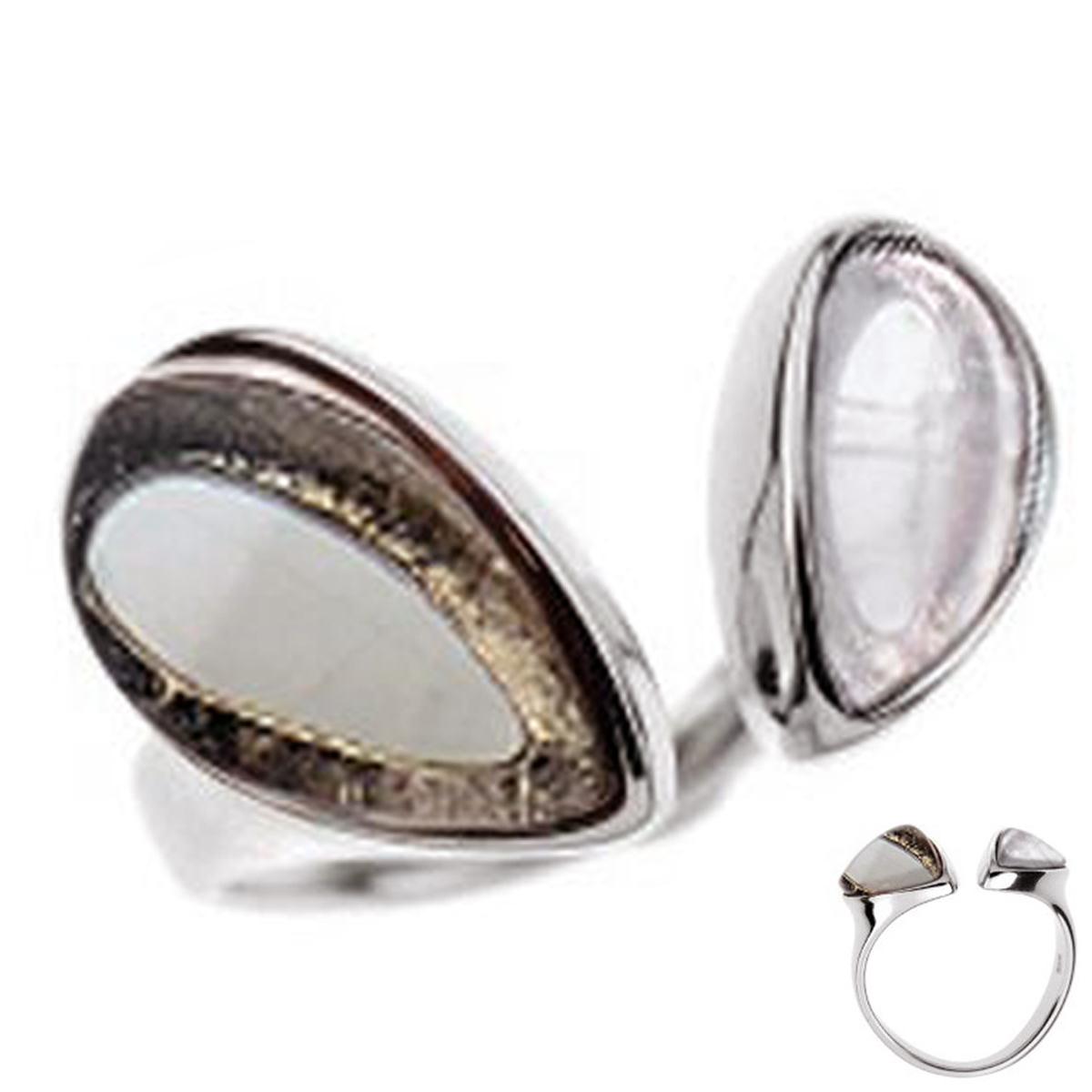 Bague Argent \'Meghan\' gris rose (quartz) argenté (rhodié) - 20x12 mm - [R0791]