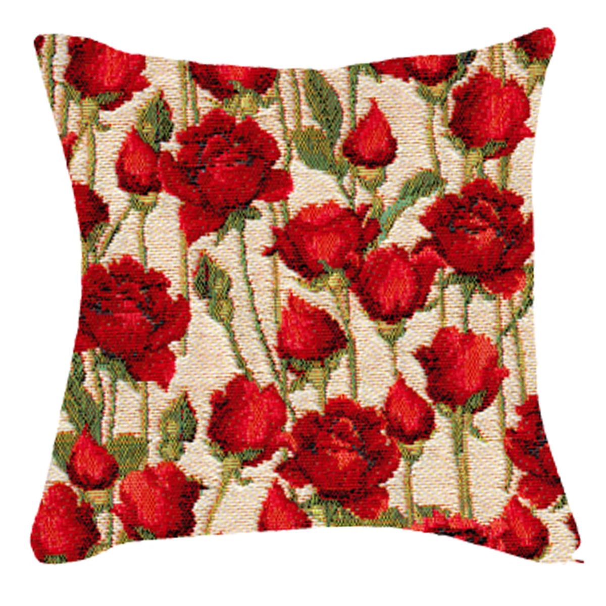 Coussin artisanal \'Royal Tapisserie\' blanc rouge (roses rouges)  - 36x36 cm - [Q6354]