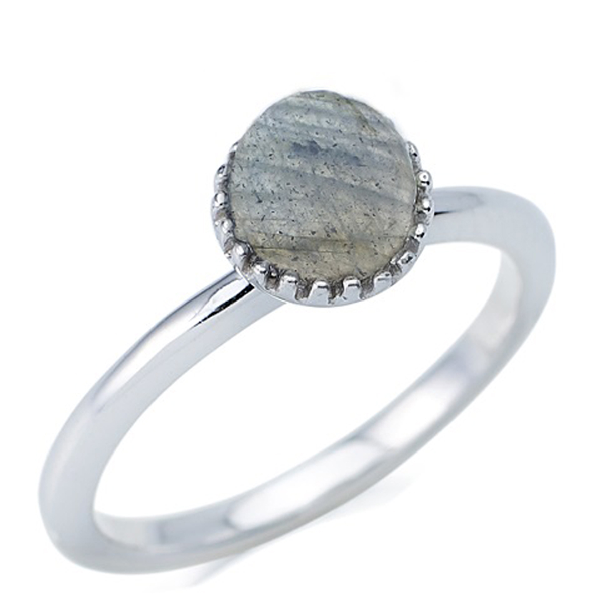 Bague Argent \'Meghan\' labradorite argenté (rhodié) - boule 6 mm - [R0793]
