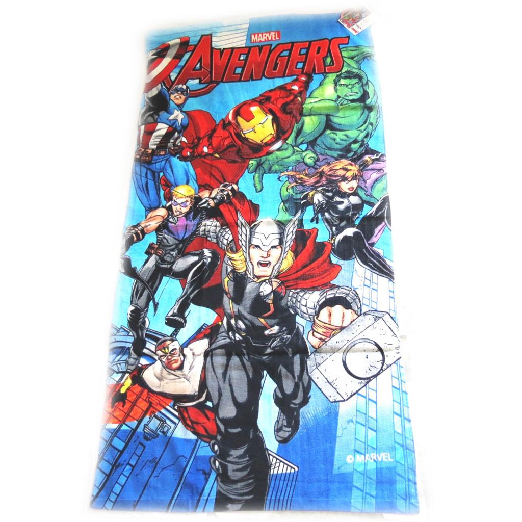 Drap de plage \'Avengers\' bleu multicolore  (70x140 cm) - [M3343]