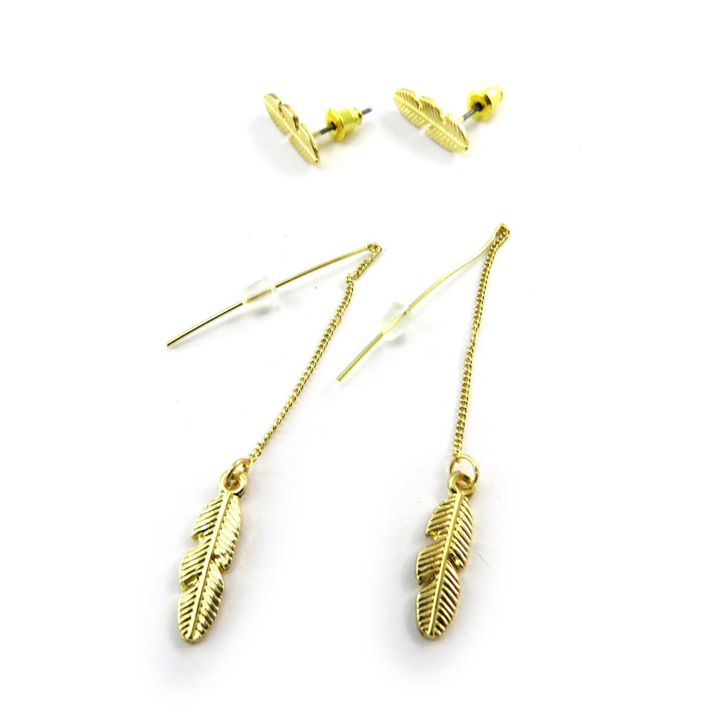 2 paires de boucles \'Navajos\' doré (plumes) - [N3568]