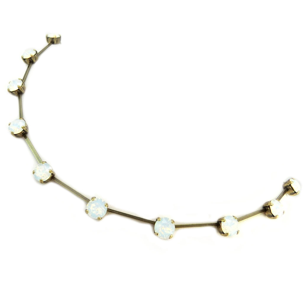 Collier artisanal \'Tsarine\' blanc opalescent doré - 7 mm - [P5548]