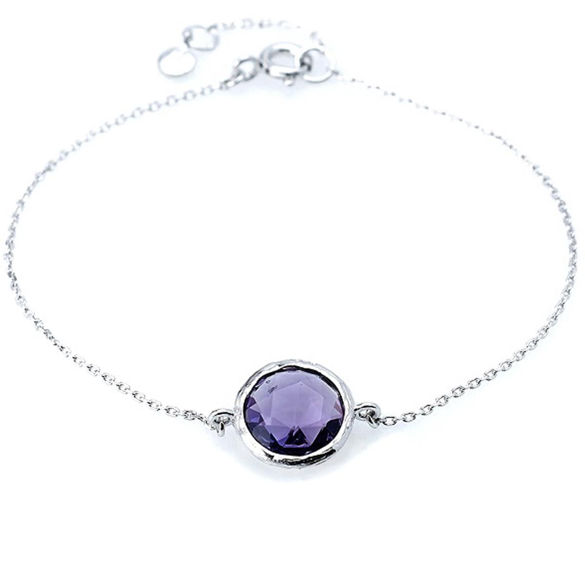 Bracelet Argent \'Meghan\' améthyste argenté (rhodié) - 10 mm - [R0824]