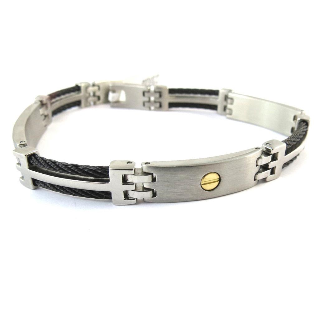 Bracelet Lien d\'amour \'Or - 18 carats\' acier - [P0147]
