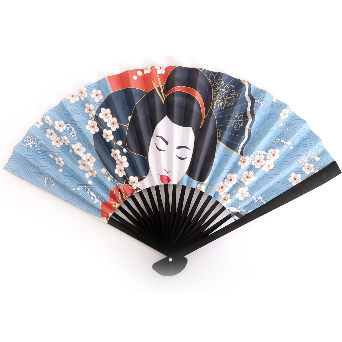 Eventail papier \'Geisha\' bleu noir - ouvert 37x21 cm - [R0841]