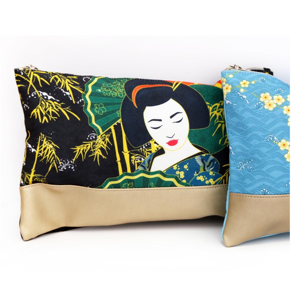 Trousse à maquillage coton \'Geisha\' noir vert - 22x17x5 cm - [R0844]