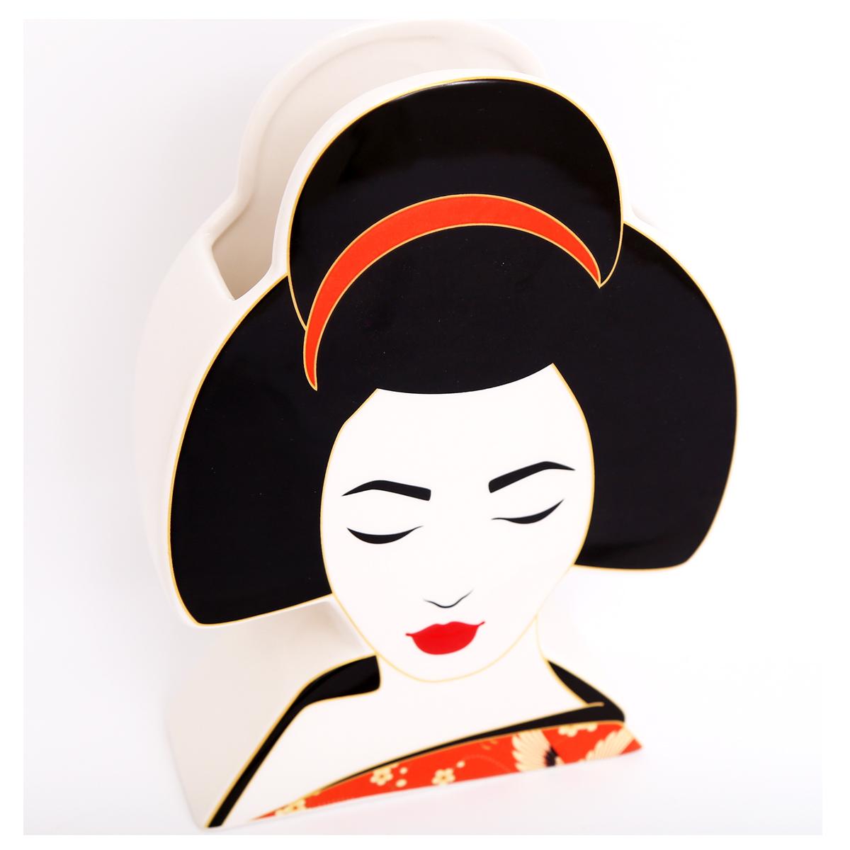 Vase céramique \'Geisha\' noir rouge blanc - 23x18x6 cm - [R0846]