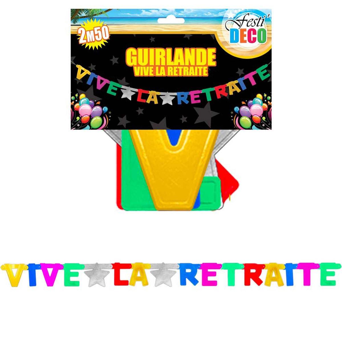 Banderole \'Vive la Retraite\' tutti frutti - 25 m - [Q5137]